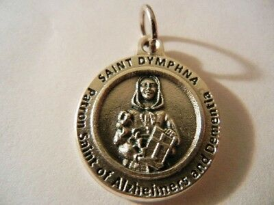 """St. Dymphna Medal Patron of Alzheimers & Dimentia New  Made in Italy  3/4"""" round"""