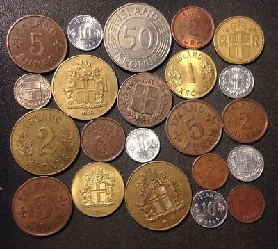 OLD ICELAND COIN LOT - 1940-Present - 22 Great Low Mintage Coins - Lot #N15