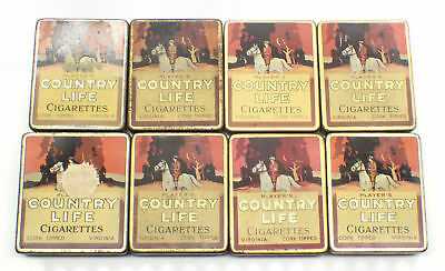 Vintage Player's Country Life Cigarettes Tins x 8