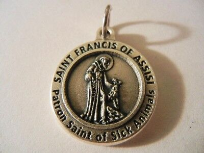 """St. Francis of Assisi Medal Patron of Sick Animals Made in Italy 3/4"""" round NEW!"""