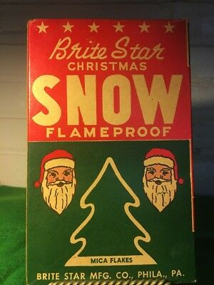 Vintage Brite Star Mfg Co Mica Christmas Snow Original Box Philadelphia Pa Rare!