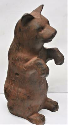 "Collectible Reproduction <> Iron Sitting Bear Bank Phillips screw 8 3/4"" Tall"