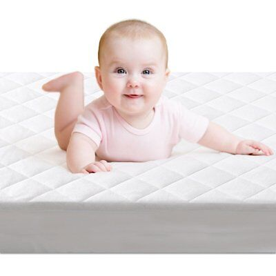 Baby Crib Mattress Protector Cover White Terry Quilted Padded Waterproof Sleep
