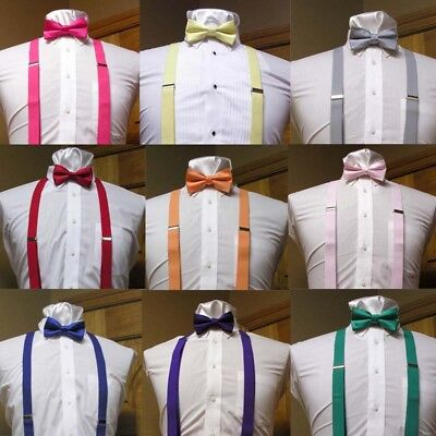 Men's Clip-on Suspender And Bow Tie Set For Men Teens Retro Punk Costume Tux