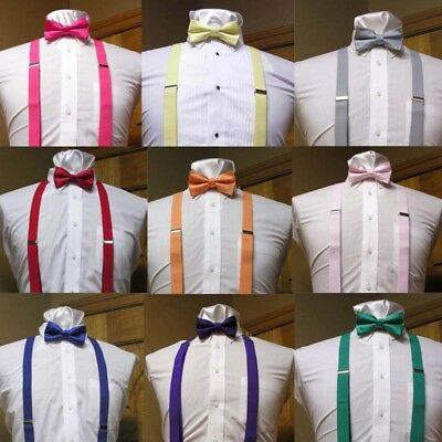 Men's Clip-on Suspenders X back  Bow Tie Simple Fashion Costume Tux Prom Dress
