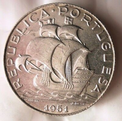 1951 PORTUGAL 2.5 ESCUDOS - AU - Low Mintage Strong Value Silver Coin - Lot #N15