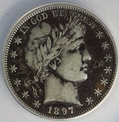 1897 50c Barber Half Dollar ANACS VF 20 DETAILS CORRODED, SCRATCHED, CLEANED