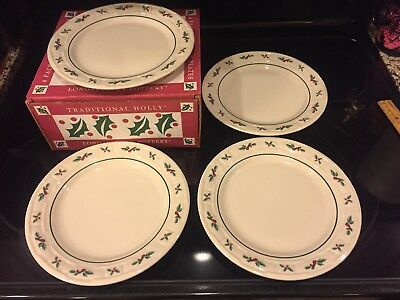 Longaberger Pottery Traditional Holly 4 Pack Luncheon Plates - Never Used
