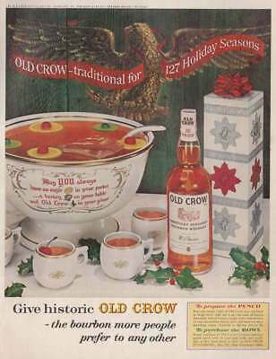 1962 Old Crow Whiskey: Punch Bowl Vintage Print Ad