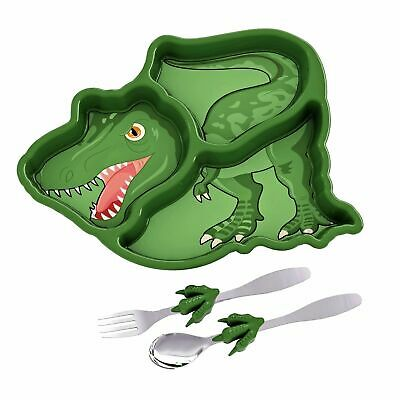 NEW ME TIME DINOSAUR MEAL SET Divided Plate Tray Fork Spoon Kids Novelty