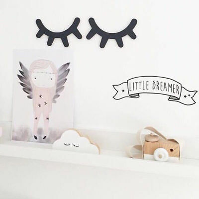 Nordic Style Kid Room Cartoon Creative Wooden Eyelashes Background Wall Stickers