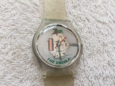 Vintage 7up The Uncola 1980's Clear Plastic Watch - Free Shipping!