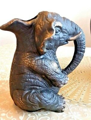 Black Painted Clay Elephant Trunk Down Handled Pitcher Pachyderm Wild Animal Art