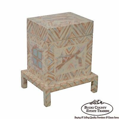 Hand Painted Folk Art Small Lift Top Chest