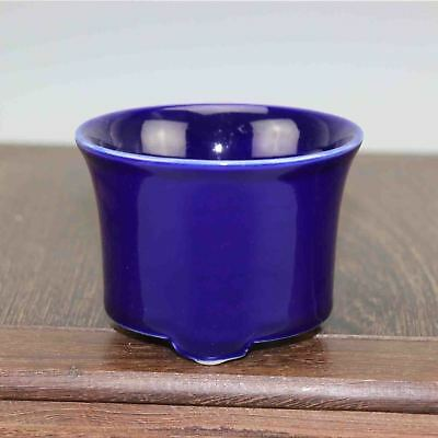 Chinese old hand-carved porcelain blue glaze three foot  Small Flowerpot Z