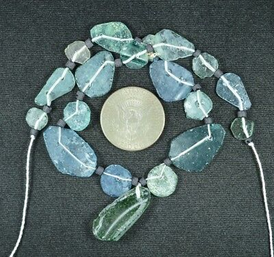 Ancient Roman Glass Beads 1 Medium Strand Aqua And Green 100 -200 Bc 707