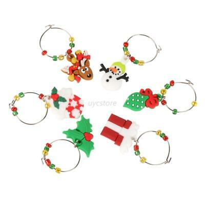 AU Christmas Wine Glass Decoration Charms Party Year Cup Ring Table Decal Unique