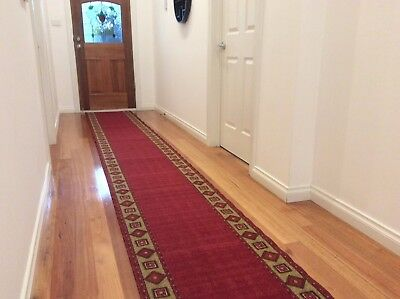 Hallway Runner Hall Runner Rug 5 Metres Long Modern Red FREE DELIVERY