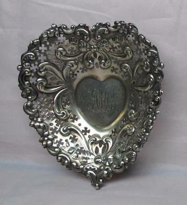 2 Vintage Gorham Sterling Silver Pierced Heart Shape Candy Dishes
