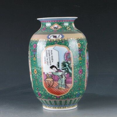 Chinese Famille Rose Porcelain Hand-Painted Beauty Vase W Qianlong Mark ZJ276
