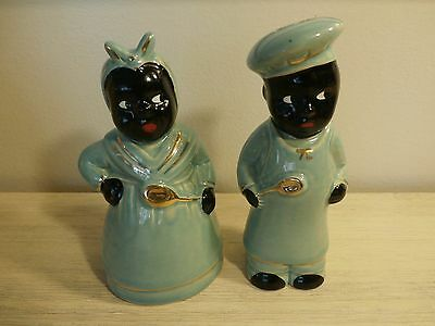 Rare BLACK AMERICANA SALT & PEPPER Man & Woman Chef Blue-Gold Cork Stoppers