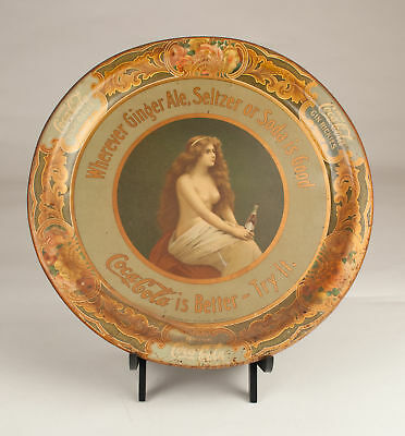 1908 Coca-Cola Topless Girl Advertising Tray