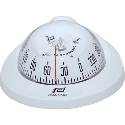 New Plastimo Offshore 75 Compass - White - Flush Mount With Conical Black Card