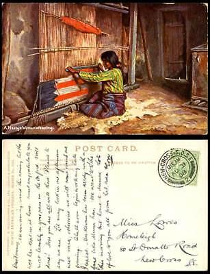 Native American Red Indian, A NAVAJO WOMAN WEAVING Loom Ethnic 1908 Old Postcard