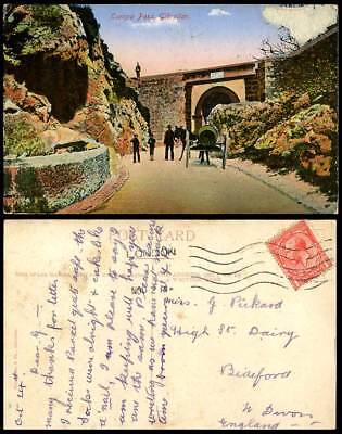 Gibraltar 1914 Old Colour Postcard Europa Pass Gate Street Donkey Cart Boy Guard