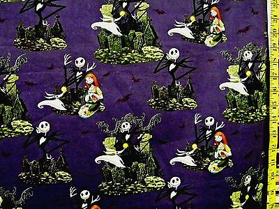 Disney nightmare before christmas on hill white 100 cotton fabric nightmare before christmas scenic print 100 cotton fabric by the 12 yard voltagebd Image collections