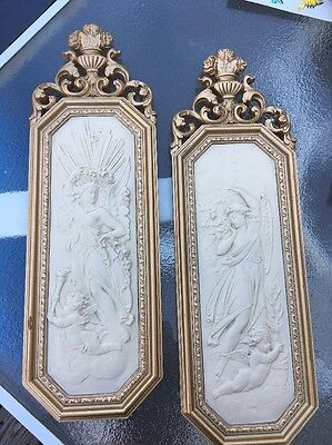 Vintage Pr 1967 Homco Home Interior French Lady Angel Cherubs Wall Plaques #7059