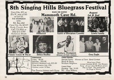 1986 Singing Hills Bluegrass Cave City KY Lonzo Oscar Lewis Fam Grey Eagle Ad