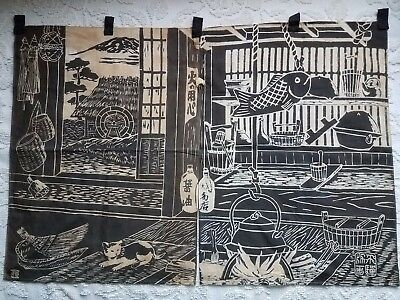 """Old Noren curtains: charming Japanese domestic scene, brown and tan; 35.5x24"""""""