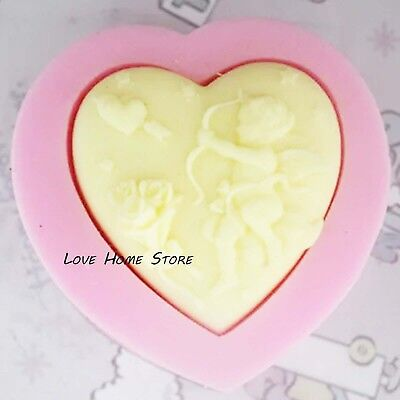 3D heart shape angel Soap Mould Candle Hand Silicone Cake Fondant Chocolate DIY