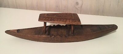 Vintage Chaku Hand Carved Walnut Wood Boat in Rainawari Srinagar Kashmir India