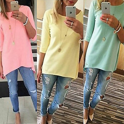 AU Women Loose 3/4 Sleeve Causal Tunic Tops Blouse Pullover Cotton Candy T-Shirt