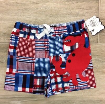 Boys Nwt Mud Pie Red, White And Blue Crab Bathing Suit. 2T