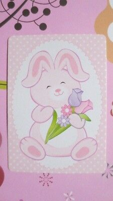 One Single Swap/Playing Card - Modern Wide Bunny With Flowers