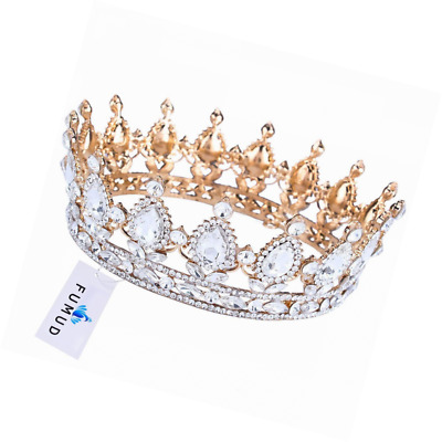 """FUMUD Pageant 2"""" Full Round Rhinestone Crystal CrownTiara Sapphire King / Queen"""