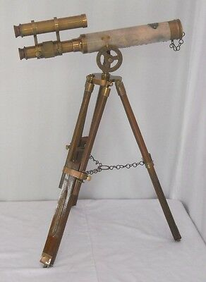 "Brass Double Barrel Telescope14"" With Wooden Tripod14"" Navy Stand"