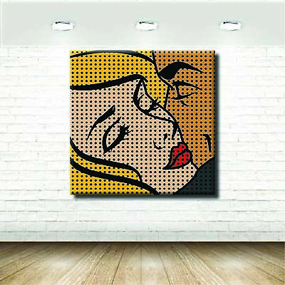 Quadri Pop Art Bacio Donna Roy Lichtenstein Vintage Stampa su tela Arte Arred...