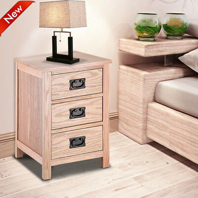 Bedroom Cabinet Furniture Solid Oak Bedside Table With 3 Drawer Nightstand