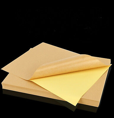 25 X A4 Kraft Label Sticker Paper Brown Self adhesive For Laser & Inkjet Printer