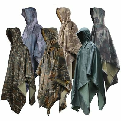 Outdoor 3 in 1 Military Raincoat Poncho Backpack Rain Cover Tent Mat Awning