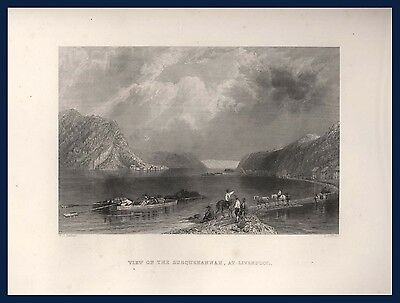 View on the Susquehanna at Liverpool Pennsylvania USA Estes and Lauriat Boston