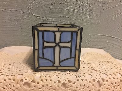 Vintage Leaded Stained Glass Candle Holder Tea Light or Votive