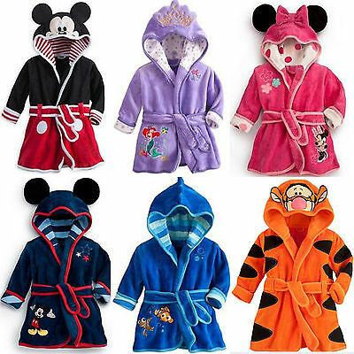 AU Baby Girls Boys Night Bath Robe Sleepwear Kid's Hooded Homewear Pajamas Gown