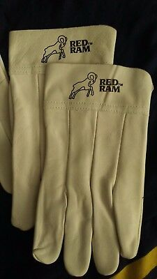 White Leather RED RAM Heavy Duty work gloves