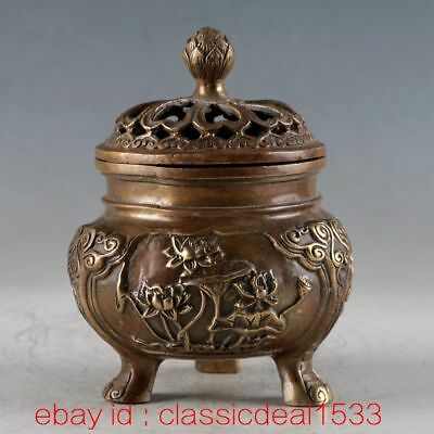 Antique Chinese Bronze Handwork Lotus Incense Burner & Hollow Lid / Xuande Mark