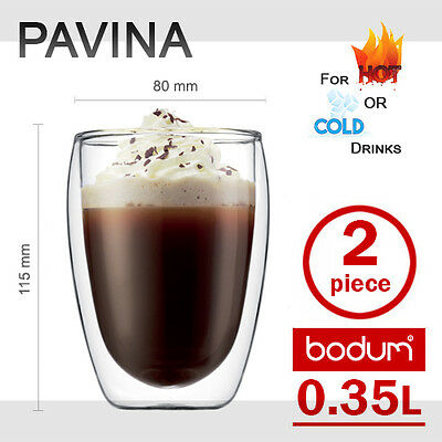 BODUM PAVINA Double Wall Insulated Thermo Glass Coffee Latte Tea Cups 2 x 350ml